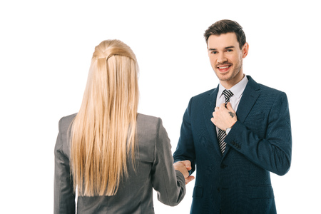 Photo for businessman and businesswoman shaking hands and making deal isolated on white - Royalty Free Image