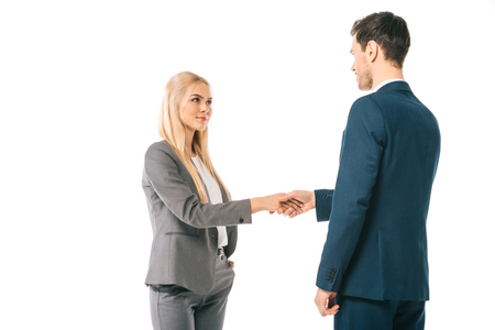 Photo for successful businesspeople shaking hands and making deal isolated on white - Royalty Free Image