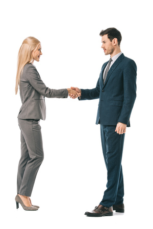 Photo for business colleagues shaking hands and making deal isolated on white - Royalty Free Image