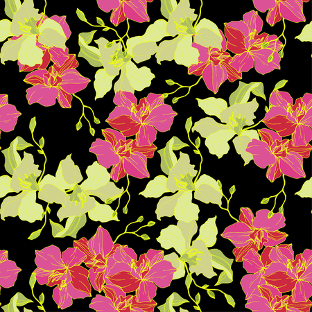 Illustration pour Vector Pink and yellow Orchid. Floral botanical flower. Seamless background pattern. Fabric wallpaper print texture. Engraved ink art on black background. - image libre de droit