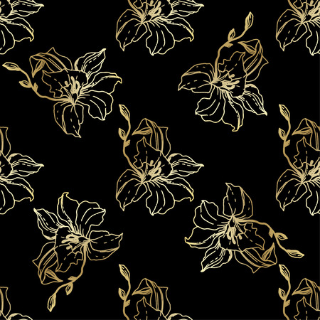 Illustration pour Vector Golden Orchid. Floral botanical flower. Seamless background pattern. Fabric wallpaper print texture. Engraved ink art on black background. - image libre de droit