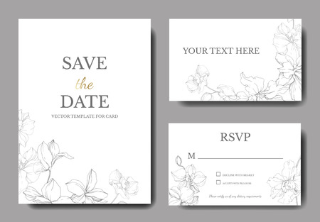Illustration pour Vector. Orchid botanical flower. Gray and white engraved ink art. Wedding background card floral decorative border. Thank you, rsvp, invitation elegant card illustration graphic set banner. - image libre de droit