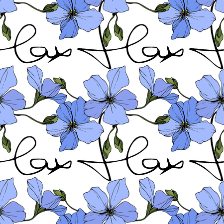 Illustration pour Vector. Blue flax. Floral botanical flower. Spring leaf wildflower. Engraved ink art. Seamless pattern on white background. Fabric wallpaper print texture. - image libre de droit