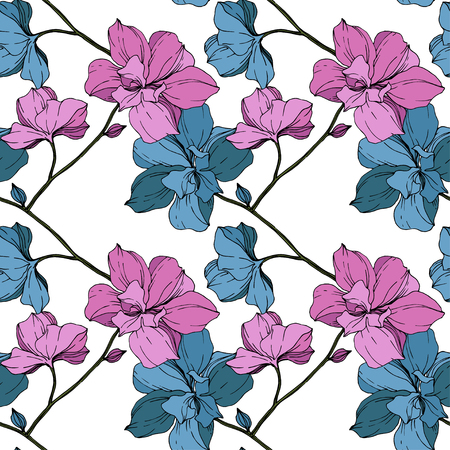 Foto für Vector Vector Pink and blue Orcid floral botanical flower. Wild spring leaf wildflower isolated. Engraved ink art. Seamless background pattern. Fabric wallpaper print texture. - Lizenzfreies Bild