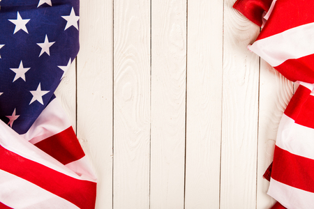 Foto de american flag on wooden background with copy space - Imagen libre de derechos