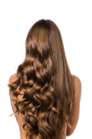 Foto de back view of girl with curly and straight long brown hair isolated on white - Imagen libre de derechos
