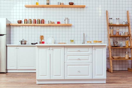 Photo for modern kitchen design with white furniture and tile on background - Royalty Free Image