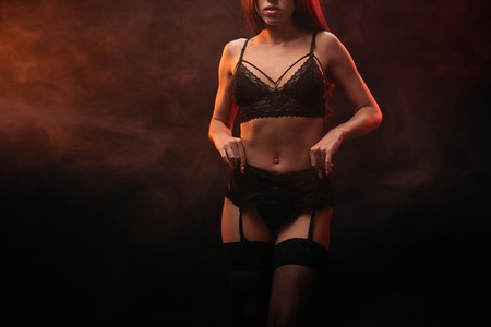 Photo for cropped view of sexy young woman posing in lace lingerie - Royalty Free Image