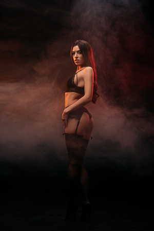Photo for beautiful sexual young woman in black lingerie posing in dark smoky room - Royalty Free Image