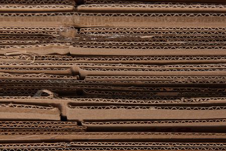 Foto de close up of brown corrugated folded cardboard - Imagen libre de derechos