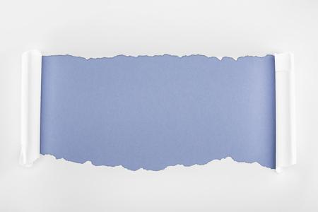 Foto de ripped white paper with rolled edges on blue background - Imagen libre de derechos