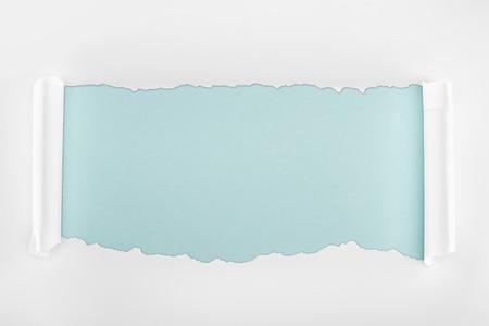 Foto de tattered white textured paper with curl edges on light blue background - Imagen libre de derechos