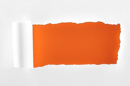 Foto de tattered textured white paper with rolled edge on deep orange background - Imagen libre de derechos