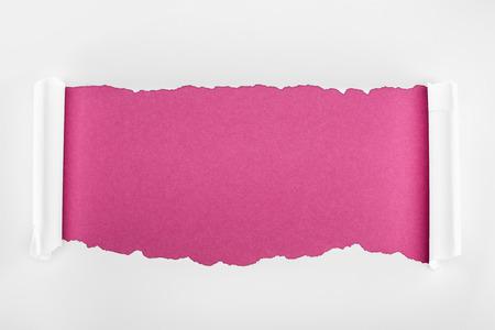 Foto de ripped white textured paper with curl edges on crimson background - Imagen libre de derechos