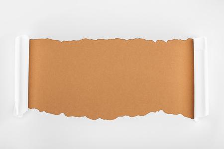 Foto de ripped white paper with curl edges on brown background - Imagen libre de derechos