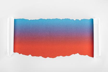 Foto de ripped white paper with curl edges on multicolored background - Imagen libre de derechos