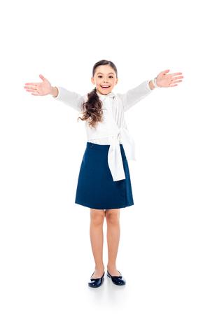 Foto de happy schoolgirl in formal wear with outstretched hands on white - Imagen libre de derechos