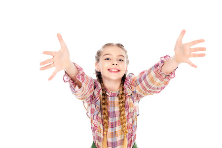 Foto de adorable kid with outstretched hands looking at camera Isolated On White - Imagen libre de derechos