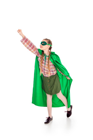 Foto de child in superhero costume and mask with outstretched hand On White - Imagen libre de derechos