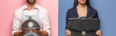 Photo for panoramic shot of man in apron with Serving Tray and businesswoman with briefcase on blue and pink - Royalty Free Image