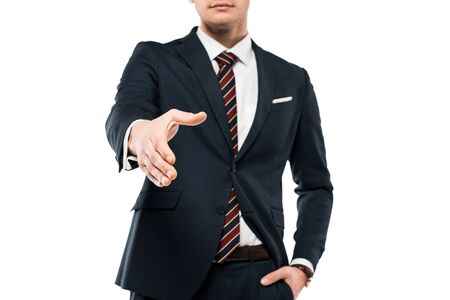 Photo pour Cropped view of businessman gesturing while standing with hand in pocket isolated on white background - image libre de droit