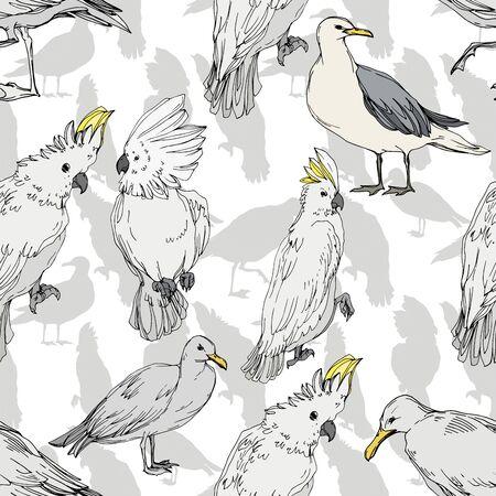 Foto für Vector Sky bird cockatoo in a wildlife. Wild freedom, bird with a flying wings. Black and white engraved ink art. Seamless background pattern. Fabric wallpaper print texture. - Lizenzfreies Bild