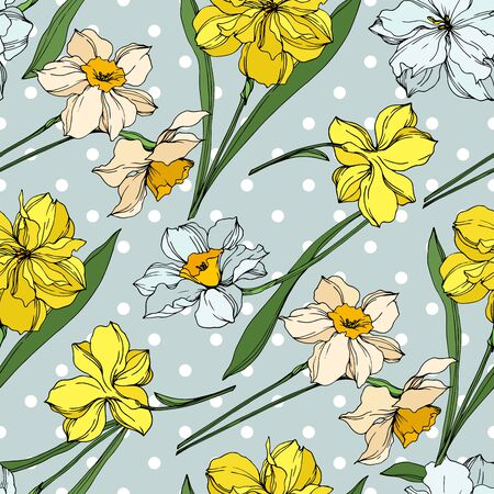 Foto de Vector Narcissus floral botanical flowers. Wild spring leaf wildflower isolated. Black and white engraved ink art. Seamless background pattern. Fabric wallpaper print texture. - Imagen libre de derechos