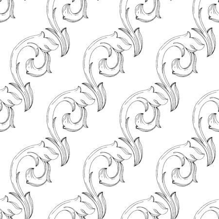 Ilustración de Vector Baroque monogram floral ornament. Baroque design isolated elements. Black and white engraved ink art. Seamless background pattern. Fabric wallpaper print texture. - Imagen libre de derechos