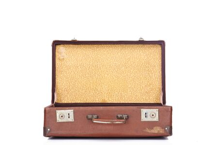 Foto de leather brown vintage opened suitcase isolated on white - Imagen libre de derechos
