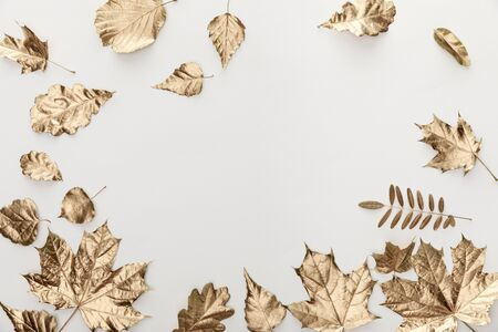 Photo pour top view of golden foliage on white background - image libre de droit