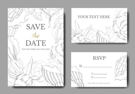 Illustration pour Vector Summer beach seashell tropical elements. Black and white engraved ink art. Wedding background card decorative border. Thank you, rsvp, invitation elegant card illustration graphic set banner. - image libre de droit