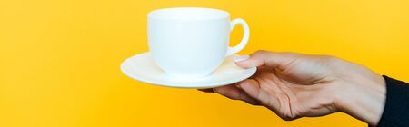 Foto de panoramic shot of woman holding saucer and cup isolated on orange  - Imagen libre de derechos