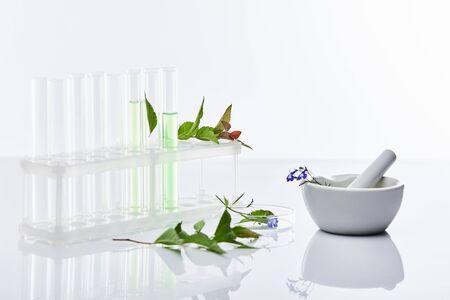 Foto de glass test tubes, mortar with pestle near plants isolated on white - Imagen libre de derechos