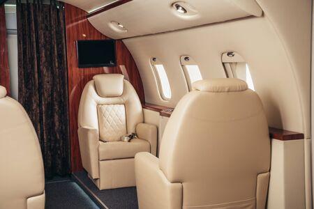 Photo pour luxury, comfortable and modern cabin of private plane - image libre de droit
