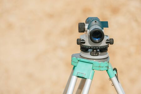 Photo for Digital level for survey measuring on tripod - Royalty Free Image