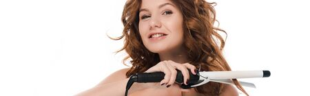 Photo pour panoramic shot of happy girl curling hair isolated on white - image libre de droit