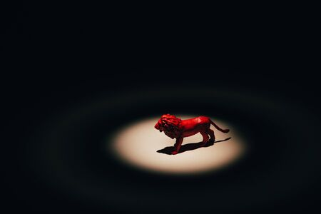 Photo for Red toy lion under spotlight on black background  - Royalty Free Image