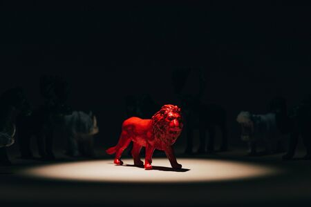 Photo for Red toy lion under spotlight with animals at background, voting concept - Royalty Free Image