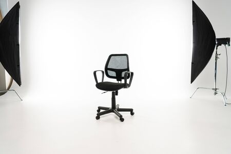 Photo for Black office chair with studio light on white background - Royalty Free Image