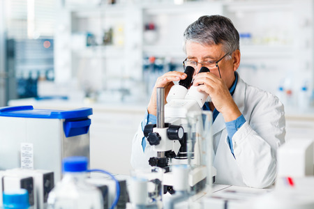Foto de senior male researcher carrying out scientific research in a lab using a microscope  - Imagen libre de derechos
