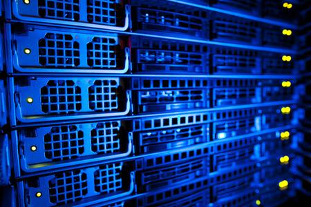 Foto für Server rack cluster in a data center (shallow DOF; color toned image) - Lizenzfreies Bild