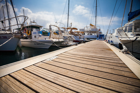 Photo for Marina with anchored boats - Royalty Free Image
