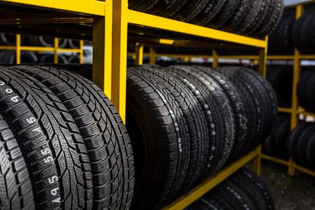 Photo pour Tires for sale at a tire store - image libre de droit
