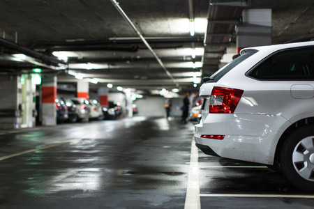Foto per Underground parking/garage (shallow DOF; color toned image) - Immagine Royalty Free