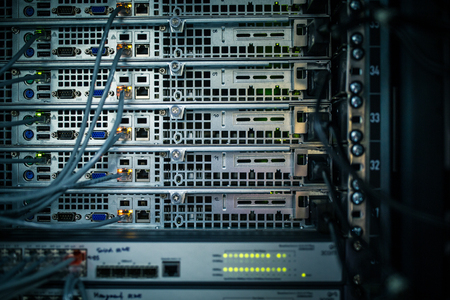 Photo pour Server rack cluster in a data center (shallow DOF; color toned image) - image libre de droit