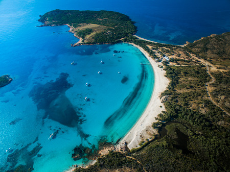 Photo pour Aerial View of the Splendid Rondinara Beach, Corsica, France - image libre de droit
