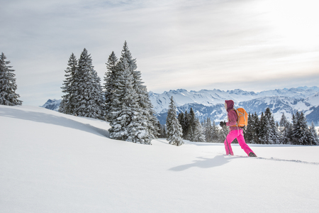 Foto de Pretty, young woman snowshoeing in high mountains, enjoying splendid winter weather with abundance of snow - Imagen libre de derechos