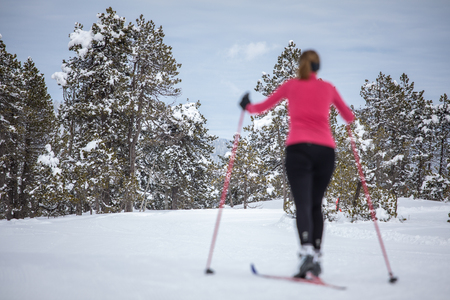 Photo pour Cross-country skiing: young woman cross-country skiing on a winter day (forest in focus, skier left out of focus) - image libre de droit