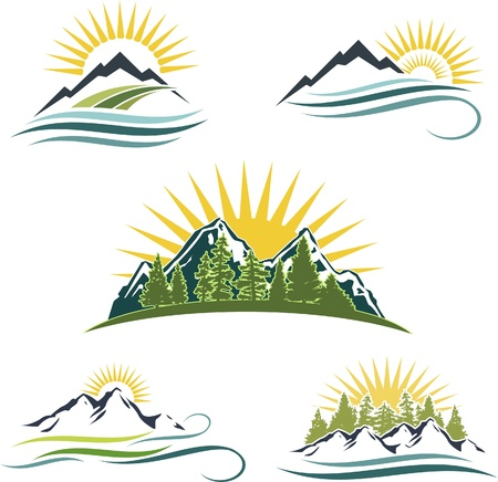 Illustration pour Icon set featuring mountains, water, and trees - image libre de droit