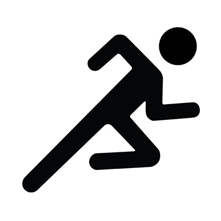 Foto per Vector Running man Illustration shadow white black - Immagine Royalty Free